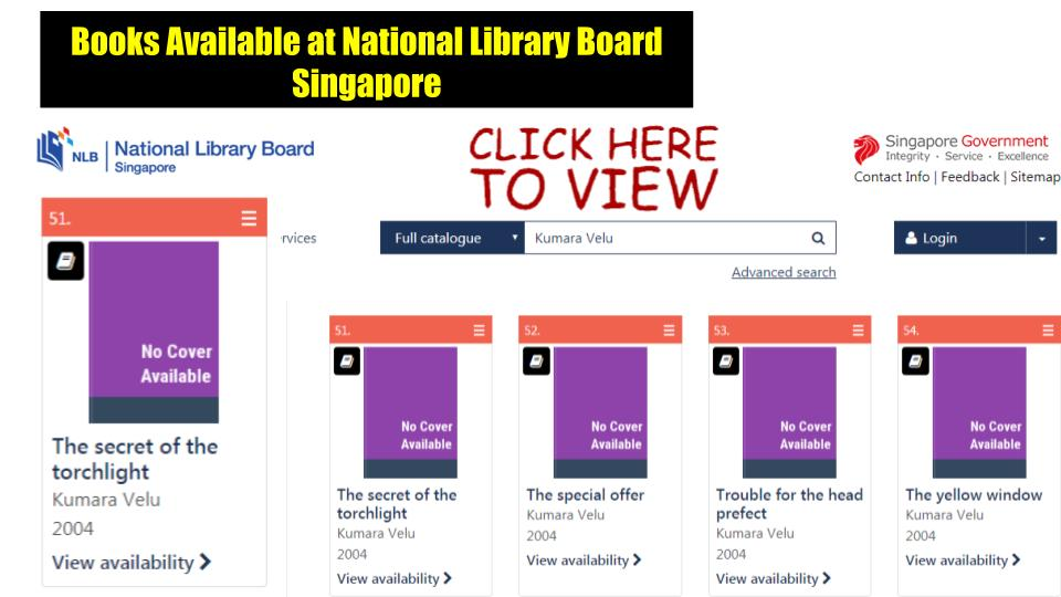 Kumara Velu Books Available at National Library Board Singapore