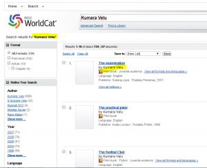Kumara Velu Books on World Cat