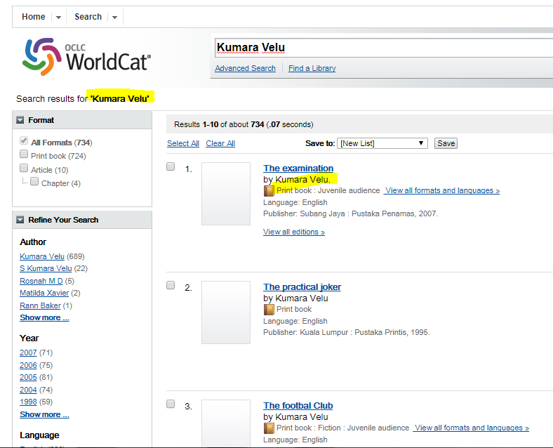 Kumara Velu Books on World Cat