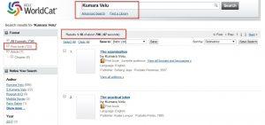 Kumara Velu Books Listed in Worldcat