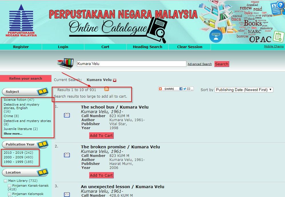 Kumara Velu Books in National Library Malaysia