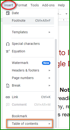Make a Table of Contents in Google Docs - Insert Menu