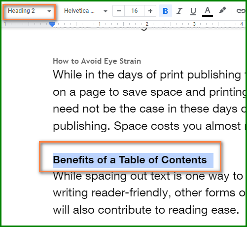 Make a Table of Contents in Google Docs - Update Table of Contents