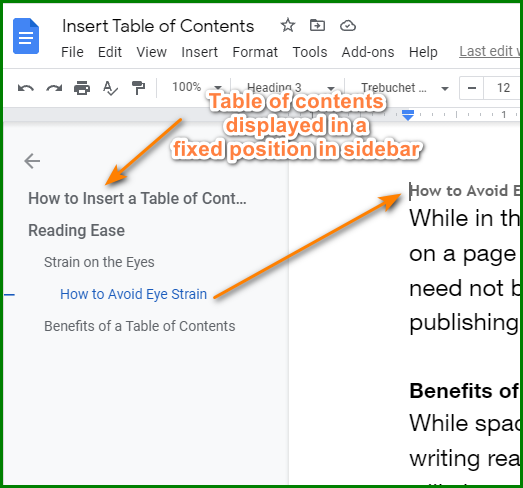 How to Show Google Docs Table of Contents On Sidebar 2