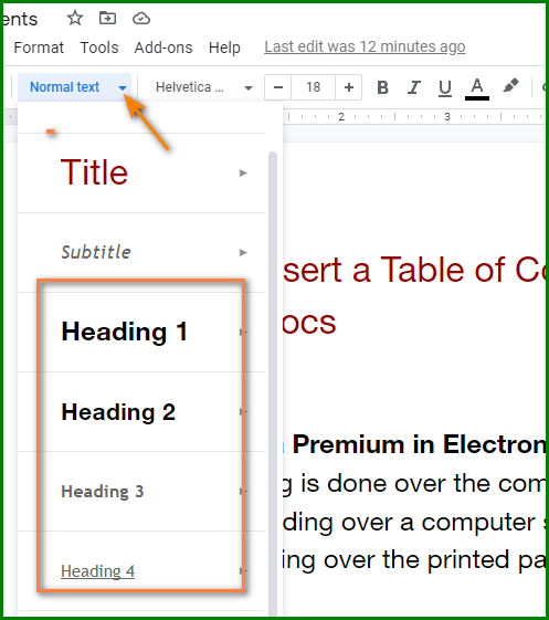 Make a Table of Contents in Google Docs - Headings