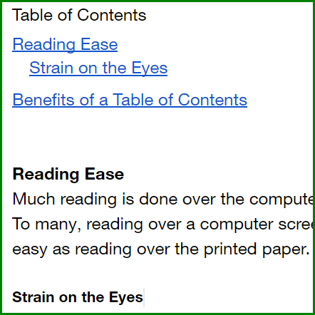 Make a Table of Contents in Google Docs - Example