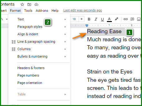 Make a Table of Contents in Google Docs - Choosing Paragraph Styles 1